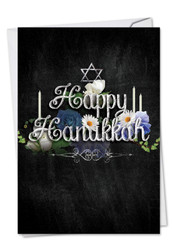 Chalk And Roses, Printed Hanukkah Note Card - C2358AHK