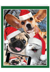 J2373CXS - Holiday Animal Selfie: Giant Printed Card