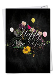 Chalk And Roses, Printed New Year Greeting Card - C2358ANY