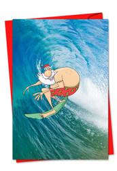 9631BXS - Surfing Santa: Greeting Card