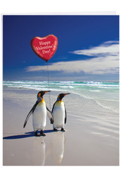 J3514VD - Beach Penguins: Large Printed Card