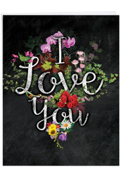 J2358DVD - Chalk And Roses: Over-sized Paper Card