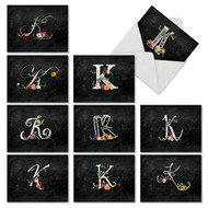 M3795OC - Chalk And Roses Initial K: Mixed Set of 10 Cards