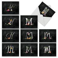 M3808OC - Chalk And Roses Initial M: Mixed Set of 10 Cards