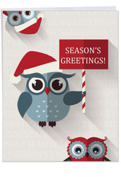 J3947BXS - Happy Owlidays: Extra Large Greeting Card