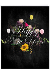 Chalk And Roses, Extra Large New Year Greeting Card - J2358ANYG