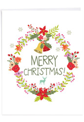 Watercolor Wreaths, Extra Large Christmas Greeting Card - J6653JXSG