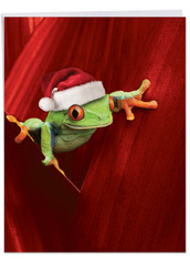 J1754EXS - Yule Frogs: Large Note Card