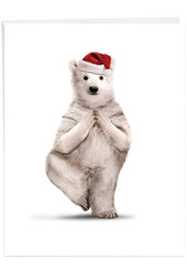 Zoo Yoga - Polar Bear, Jumbo Christmas Note Card - J6547JXSG