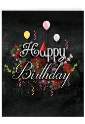 Chalk And Roses, Extra Large Birthday Note Card - J6479CBDG