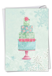Watercolor Cake, Printed Wedding Congratulations Note Card - C2984FWDG