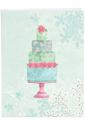 Watercolor Cake, Extra Large Wedding Congratulations Greeting Card - J2984FWDG