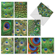 Note Cards with Blue and Green Peacock Feathers