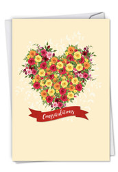 Heartfelt Thanks, Printed Wedding Congratulations Note Card - C6578IWDG