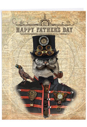 J6554AFD - Steampunk Cats: Jumbo Note Card