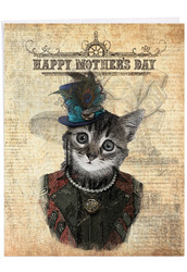 J6554DMD - Steampunk Cats: Large Printed Card