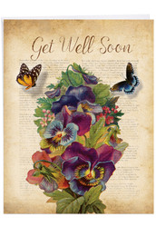 Fluttering Words, Jumbo Get Well Greeting Card - J6477BGWG