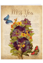Fluttering Words, Jumbo Miss You Note Card - J6477AMYG