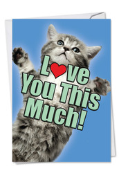 Cat Love You This Much, Printed Anniversary Note Card - C6610AANG