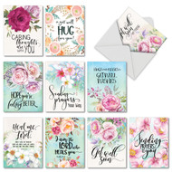 Get Well Florals, Assorted Set Of Mini Get Well Note Cards - AM4214GWG