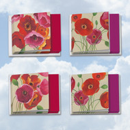 MQ4548TY - Painted Poppies: Square-Top Assorted Set of 12 Cards