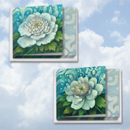 MQ4594GW - Blue Magnolia: Square-Top Assorted Set of 12 Cards