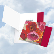 Painted Poppies, Printed Square-Top Birthday Note Card - CQ4548ABDG