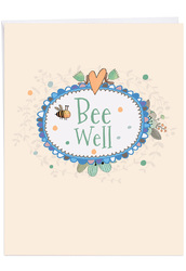 Bee Well, Jumbo Get Well Note Card - J6548CGWG