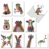 Funky Rainbow Wildlife, Assorted Set Of Mini Thank You Greeting Cards - AM4948TYG