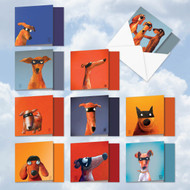 MQ4975OC - Masked Hounds: Square-Top Assorted Set of 10 Cards