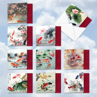 MQ4944OC - On Goldfish Pond: Square-Top Mixed Set of 10 Cards