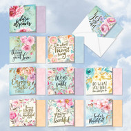 Words Of Encouragement, Assorted Set Of Printed Square-Top Blank Note Cards - ACQ4979FRB