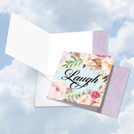 CQ4969AOC - In A Word - Laugh: Square-Top Printed Card