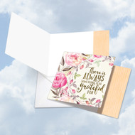 Words Of Encouragement - Always Grateful, Printed Square-Top Blank Note Card - CQ4979DFRB