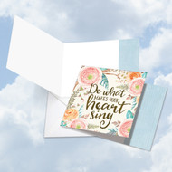 Words Of Encouragement - Heart Sing, Printed Square-Top Blank Greeting Card - CQ4979EFRB