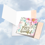 Words Of Encouragement - Own Kind Of Beautiful, Printed Square-Top Blank Note Card - CQ4979GFRB
