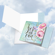 Words Of Encouragement - Yes You Can, Printed Square-Top Blank Greeting Card - CQ4979JFRB