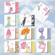 Birthday À La Mode, Assorted Set Of Mini Square-Top Birthday Greeting Cards - AMQ5043BDG