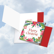 Wreath Greetings, Printed Square-Top Christmas Greeting Card - CQ4176GXSG