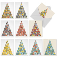 A large triangle made up of concentric dots and circles in muted colors make for non-traditional Christmas cards.
