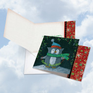 Woodland Christmas - Owl, Printed Square-Top Christmas Greeting Card - CQ4632DXSG