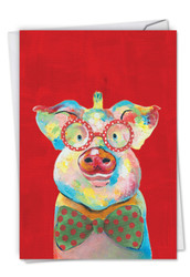 C4982FXS - Christmas Funny Farm - Pig: Printed Card
