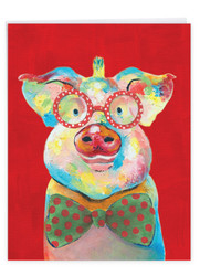 J4982FXS - Christmas Funny Farm - Pig: Giant Note Card