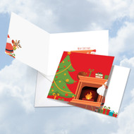 CQ4995XS - Christmas Peeking: Square-Top Note Card