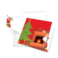 JQ4995XS - Christmas Peeking: Square-Top Jumbo Printed Card