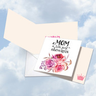 CQ4935MD - Mom Title Above Queen: Square-Top Greeting Card