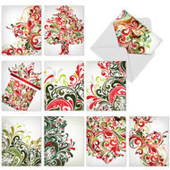 Swirls of red, green and gold on a white background take the shape of trees, gifts and festive designs.