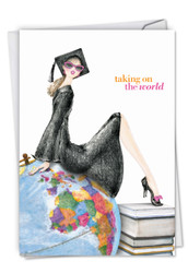 C5520GD - Girl On Globe: Greeting Card