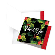 JQ4984AXT - 3D Christmas Hollies: Square-Top Giant Note Card