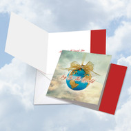 Joy To The Globe, Printed Square-Top Christmas Note Card - CQ5023AXSG